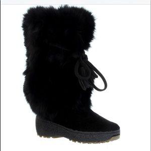 PAJAR black fur boots. Excellent condition. Size7